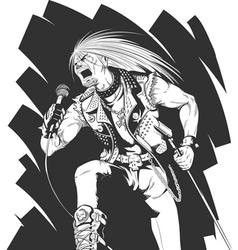 Sketch rocker singing on concert vector