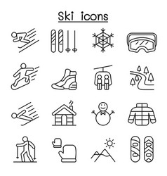 Ski icons set in thin line style vector