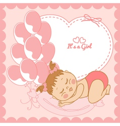 Sleeping baby girl in pink frame vector