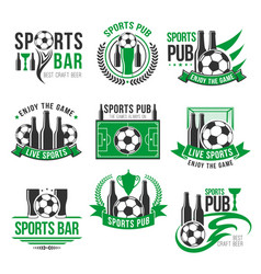 Soccer sport bar football beer pub icons vector