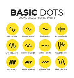 Sound waves flat icons set vector