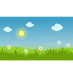 Spring landscape background with flower vector