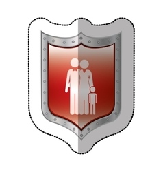 Sticker metallic shield with pictogram of family vector