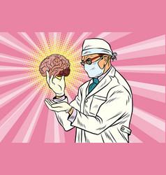 Surgeon doctor and human brain vector