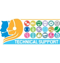 Technical Support Icon Set vector