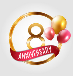 Template gold logo 8 years anniversary with ribbon vector