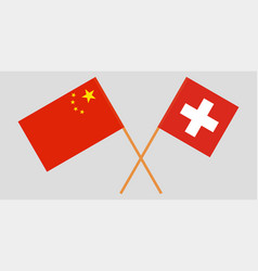 The crossed china and switzerland flags official vector