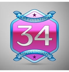 Thirty four years anniversary celebration silver vector