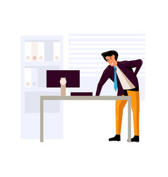 Tired businessman suffering from back pain vector