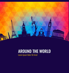 travel background with famous world landmarks vector image