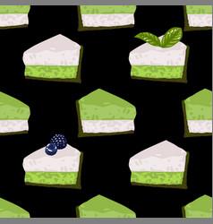 Triangular cake pieses vanilla and matcha vector