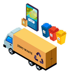 Truck lorry automobile with litter bags garbage vector