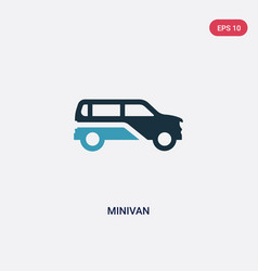Two color minivan icon from transportation vector