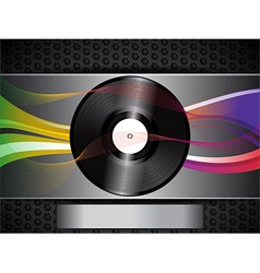 Vinyl record and waves on brushed metallic vector