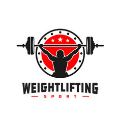 weightlifting sports logo design vector image