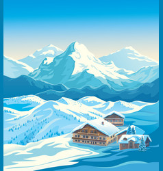 Winter mountain landscape with houses similar vector