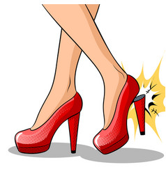 Woman broke heel on her red shoes pop art vector