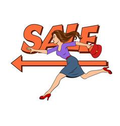 woman run pop art vector image