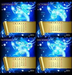 Zodiac calendar pages vector