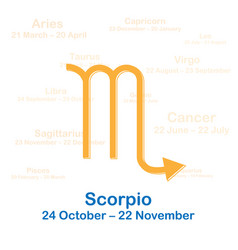 Zodiac sign scorpio on white vector