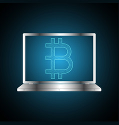 bitcoin symbol with laptop computer vector image
