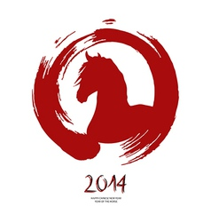 Chinese new year of the Horse red brush zen circle vector image vector image
