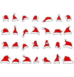 santa hats doodles vector image