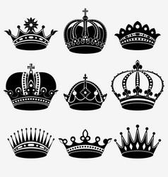 Set of nine crown vector image vector image