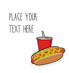 template with hotdog and red soda cup vector image