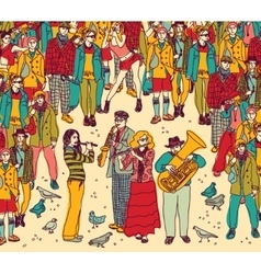 Group street musicians band and audience color vector image vector image