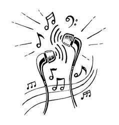 headphones doodle sketch style vector image