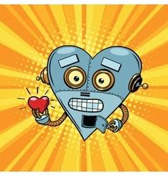 Retro robot heart Valentine love and romance vector image