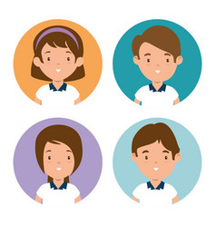 set of children student vector image