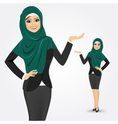 arabic business woman showing something vector image vector image