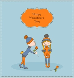 Boy gives flower to a girl Valentines day vector image