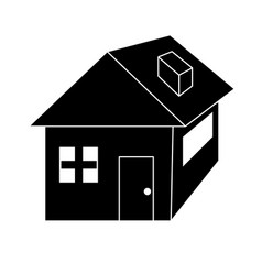 contour nice house with architecture design icon vector image