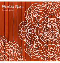 mandala flower on wooden background vector image vector image
