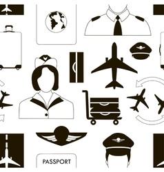 Pilot and stewardess at work vector image