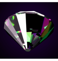 Shiny and bright diamond on a dark background vector image vector image