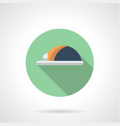 workshop hard hat flat round icon vector image