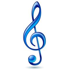 Blue treble clef vector image vector image