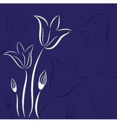 Decorative background with Tulips flowers vector image vector image