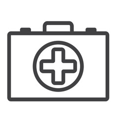 first aid kit box line icon medicine vector image
