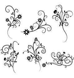 Flower Flourish Swirl set vector image