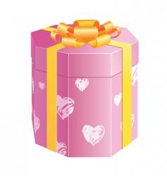 hearts gift box vector image