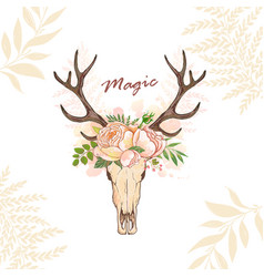 magic horn deer floral vector image vector image