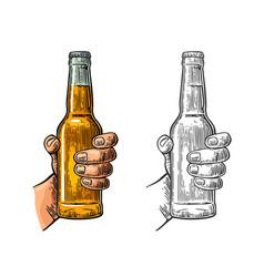 Male hand holding bottle beer color vintage vector