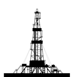 Oil rig silhouette isolated on white background vector image