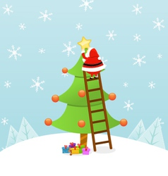Santa Decorating Christmas Tree vector image