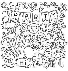 0015 hand drawn party doodle happy birthday vector